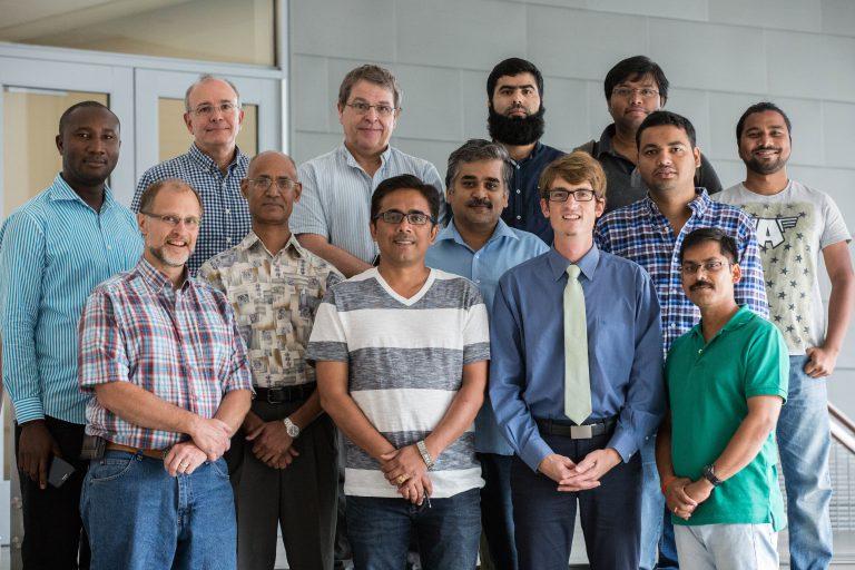 Front: Dan Snow, Water Sciences Laboratory; Manish Kumar, WARI fellow; Jesse Starita, Water for Food Institute; Rajesh Singh, WARI fellow. Middle: Chittaranjan Ray, Nebraska Water Center; Rajeev Pratap Singh, WARI fellow; Sanjeeb Mohapatra, WARI intern; Himanshu Kumar Khuntia, WARI intern. Back: Pat Shea, School of Natural Resources, UNL; Alan Kolok, professor, Biology, UNO; Khalid Muzamil Gani, WARI intern; Arindam Malakar, WARI intern. Also pictured is Rufai Ayuba, visiting scholar, Water Sciences Lab