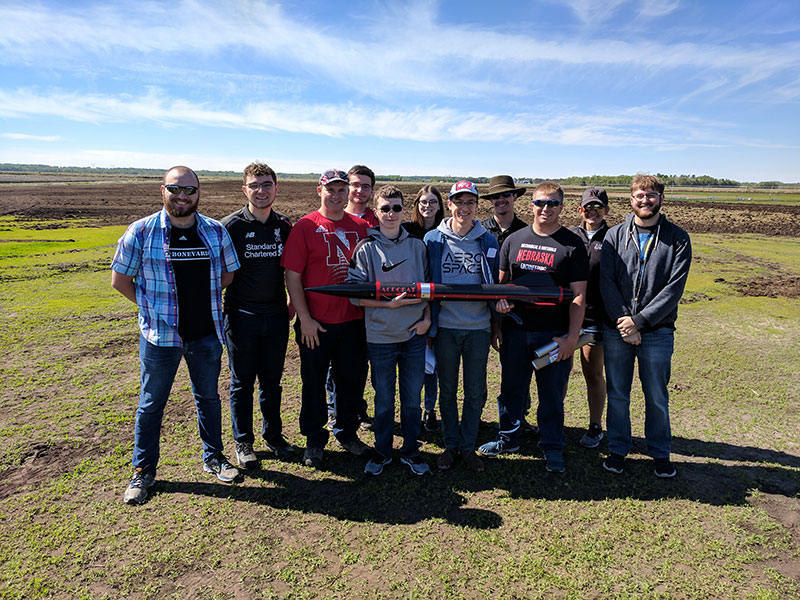 The Husker Rocketry Team: Nate Mann, Brandon Warren, Bricen Margritz, Joseph Broadway, Quinn Brandt, Elizabeth Spaulding, Conner Vokoun, Kenny Thomason, Dillon Margritz, Stephanie Vavra and Grant King
