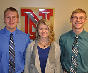 Electrical and computer engineering students (from left) Alexander Meier, Sarah Porath and Drew Wiseman have received IEEE Power & Energy Society scholarships. Jacob Eckstrom, who also received one of the scholarships, is not pictured.