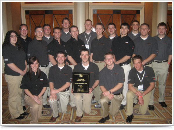Nebraska Engineering's NAHB Student Chapter after being honored at the 2009 International Builders Show.