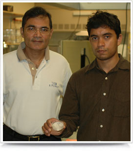Ravi Saraf (left) and Vivek Maheshwari (right) display the touch sensor.
