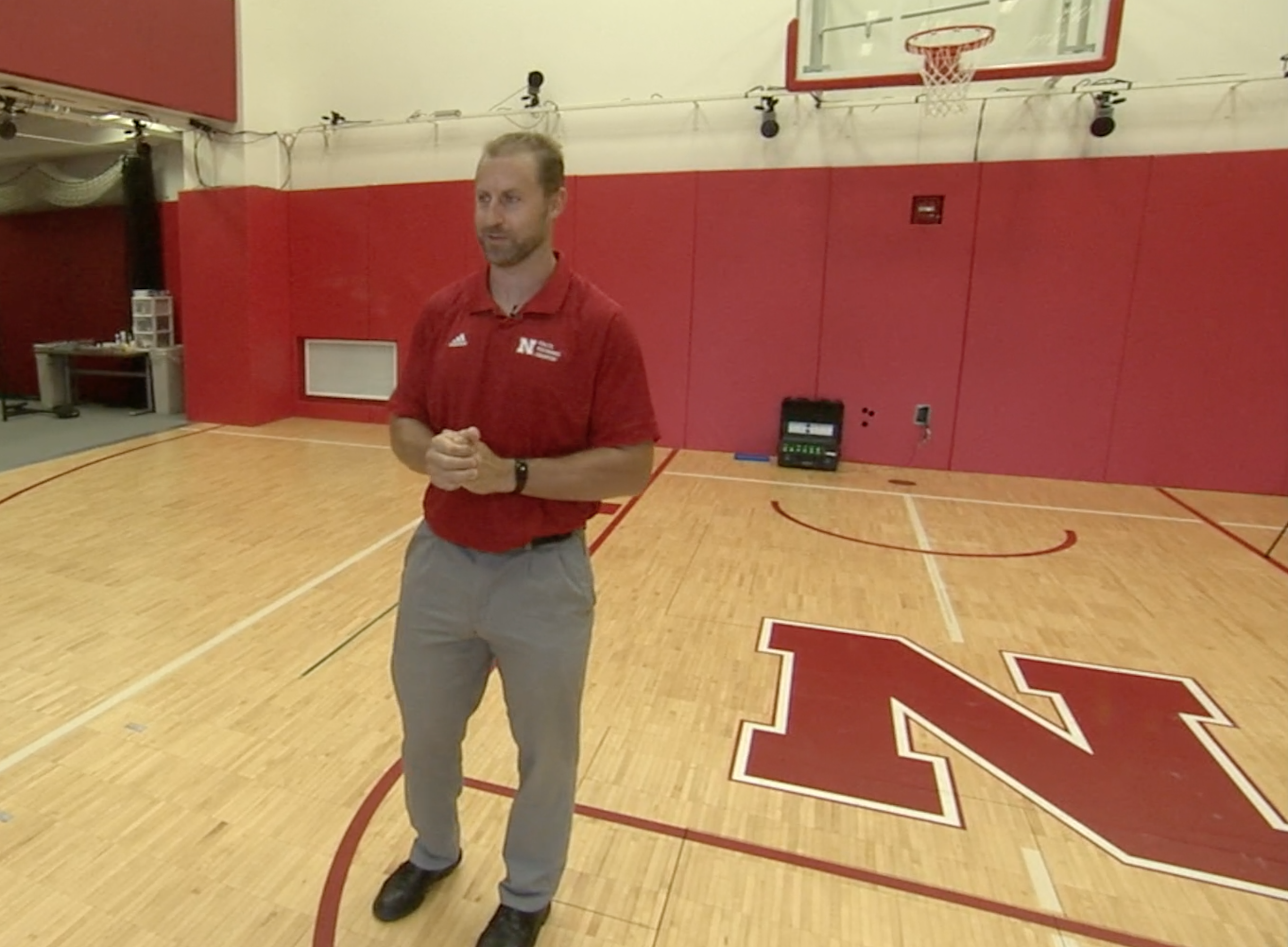 Curt Tomasevicz, assistant professor of practice in biological systems engineering, does some of his research in the Nebraska Athletic Performance Laboratory in Memorial Stadium.