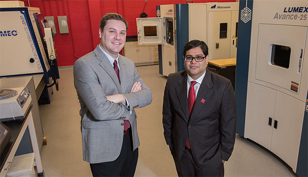 Michael Sealy (left) and Prahalada Rao lead Nebraska's additive manufacturing research efforts. They were also integral in putting together the College's first additive manufacturing symposium in 2018.