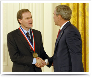 Sicking receives the National Medal of Science and Technology from President George W. Bush.