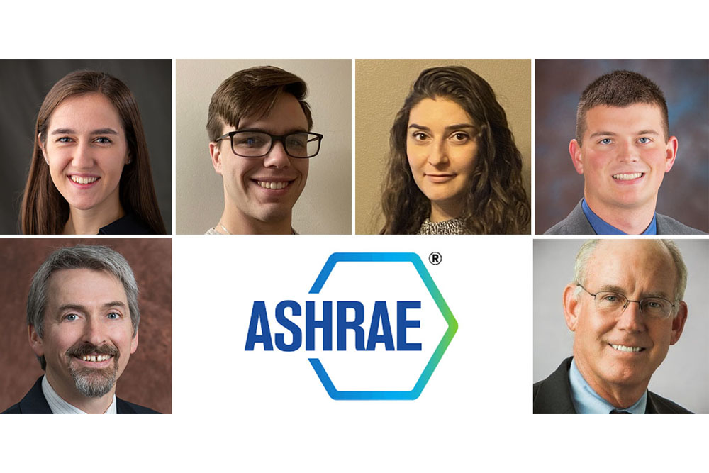 The Nebraska Engineering HVAC System Selection team consisted of students (top row, from left) Ashley Everitt, John Kramer, Jessica Lee and Mitchael Sieh; faculty advisor David Yuill (lower left) and industry mentor Joe Hazel.