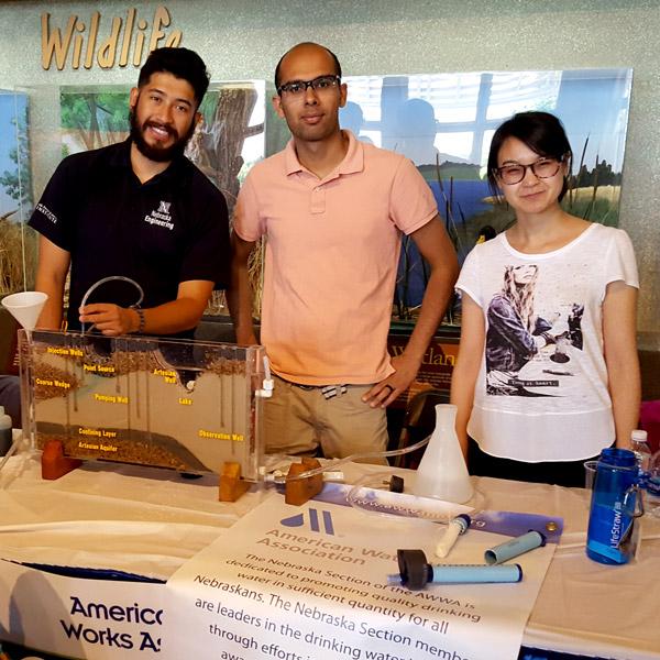Rafael Estrada (left) with Civil Engineering students Darshan Baral and Yutian Lei