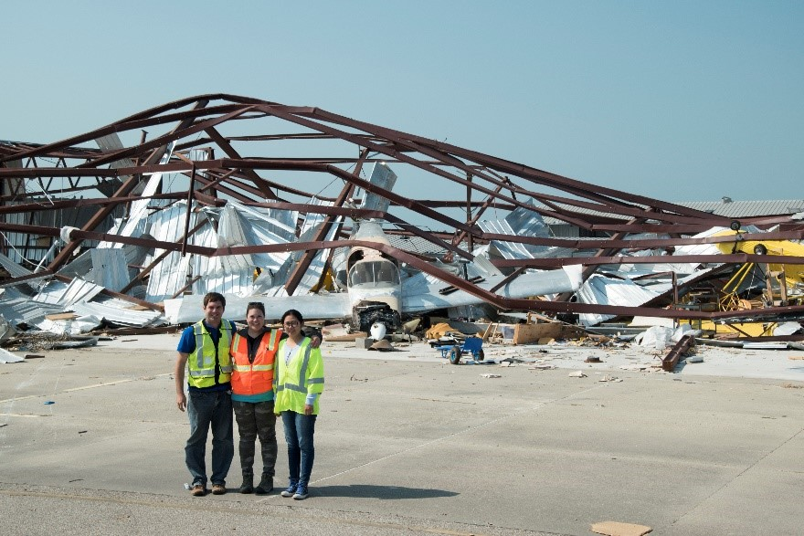 Team members assessing damage at the Aransas County Airport located in Rockport, Texas: (from left to right): Richard L. Wood (UNL), Kara D. Peterman (UMass Amherst), Yijun Liao (UNL PhD student).