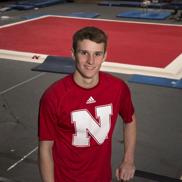 Connor Adamsick, a civil engineering major, has progressed from a walk-on athlete to being chosen captain of the Husker men's gymnastics team. (Lincoln Journal Star photo)