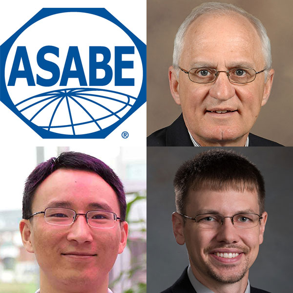 Biological Systems Engineering faculty (clockwise from top right) Dean Eisenhauer, Derek Heeren and Yufung Ge will be honored with awards at Aug. 1 at the ASABE International Meeting in Detroit, Michigan.