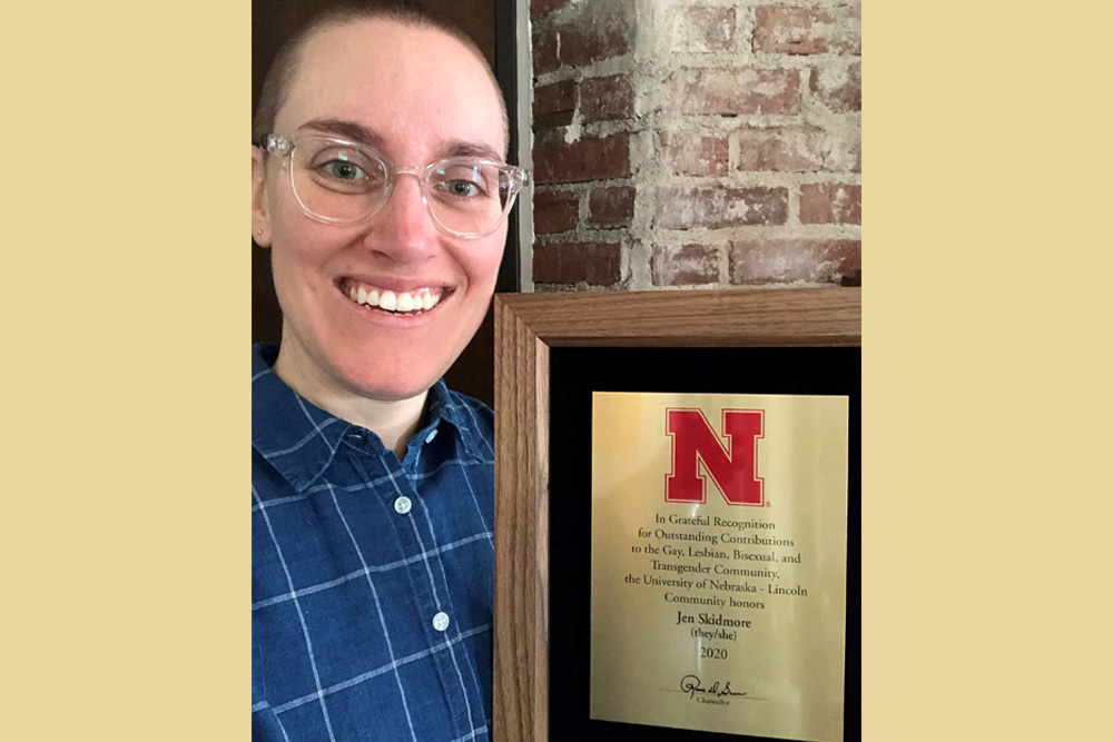 Jen Skidmore, director of student development in the College of Engineering, was recognized as a recipient of the 2020 Chancellor's Award for Outstanding Contributions to the Gay, Lesbian, Bisexual and Transgender Community.