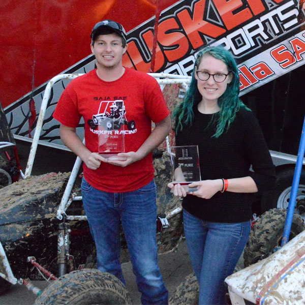 The Nebraska Engineering Baja SAE team earned five top-10 finishes in four categories at the Oct. 1 Midnight Mayhem event in Louisville, Kentucky, including second- and third-place trophies for acceleration.