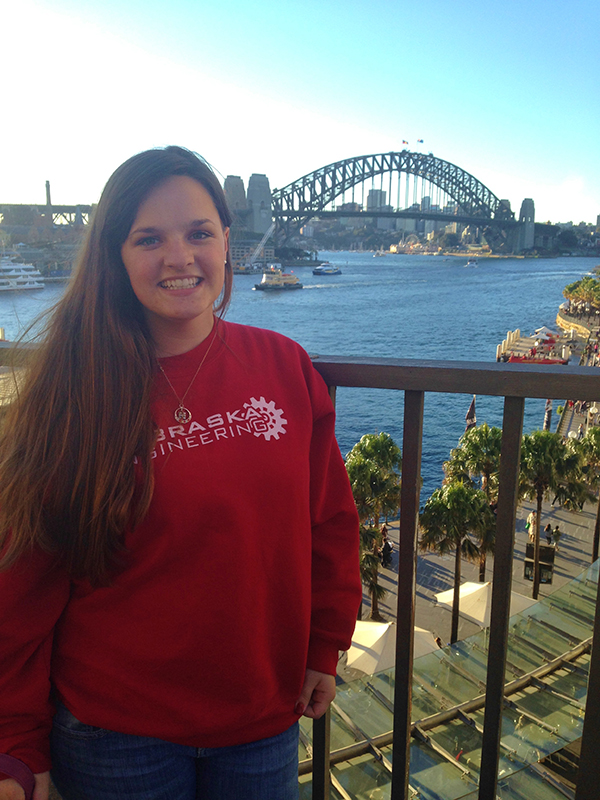 Anastasia Sanderson, a junior biological systems engineering major, found time for sight-seeing during a summer internship in Australia, including visiting the Sydney Harbour Bridge.
