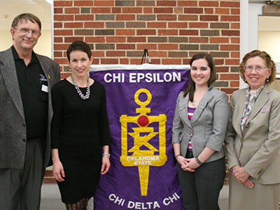 UNL civil engineering student Shelly Jorgensen (second from left) and Oklahoma State's Aiden Carmichael (second from right) were chosen as Chi Epsilon national scholarship winners. They are joined by Glenn Goss, Chi Epsilon national executive secretary, and Deann Sanders, Central District councillor.
