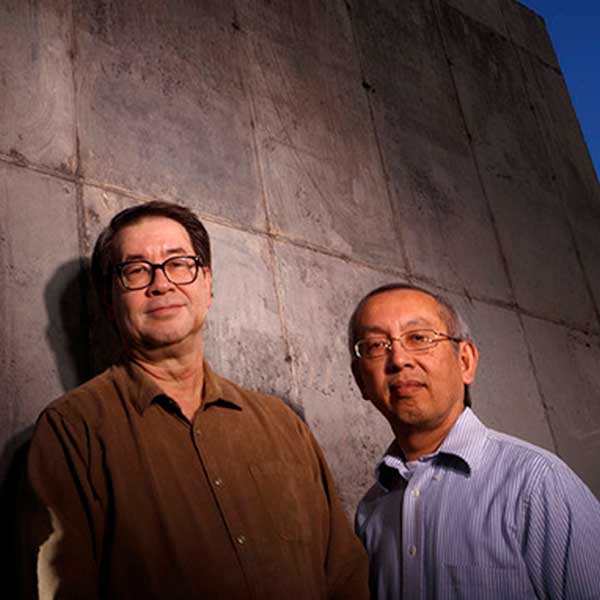University of Nebraska-Lincoln engineers Chris Tuan (left) and Lim Nguyen patented a concrete mixture that shields against electromagnetic pulses, which can topple power grids and fry electronic devices. (University Communication photo)