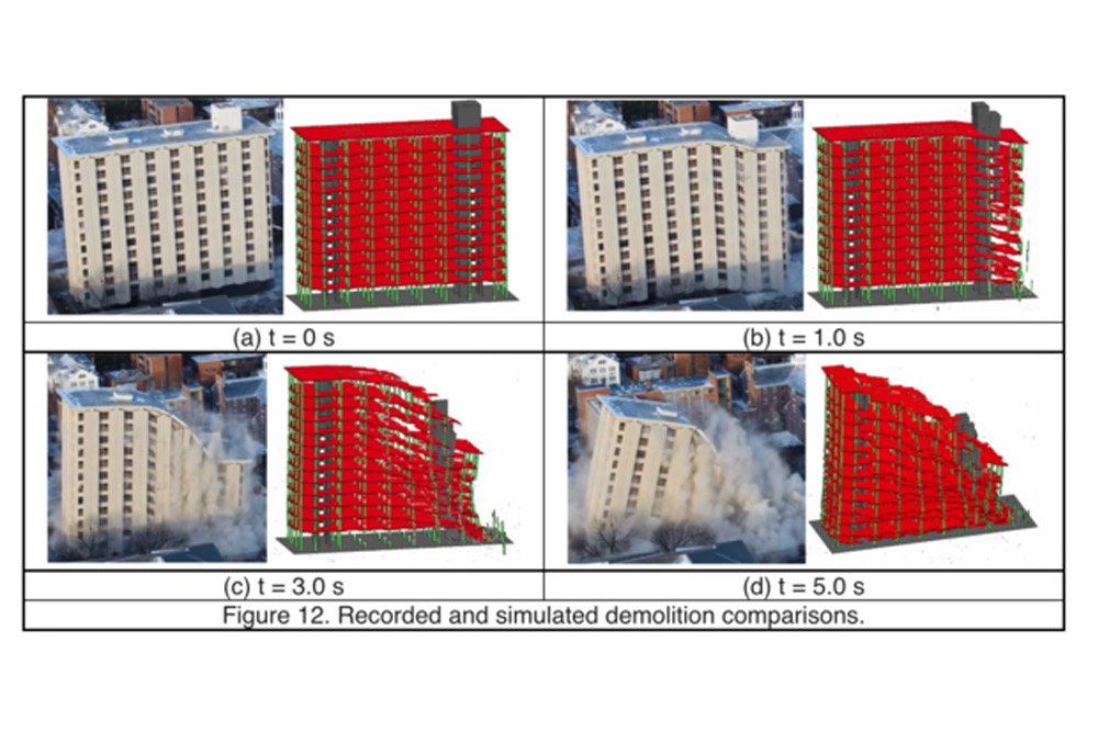 This side-by-side comparison shows real-time photos of the Pound Hall demolition and simulations created via a computer model that predicted how the structure would fall.