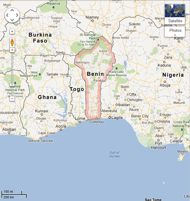 Map of Cotonou, Benin