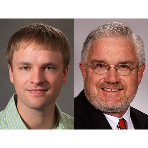 Carrick Detwiler (left) and Clarence Waters are among the six University of Nebraska-Lincoln faculty chosen for named and university professorships from the Office of the Executive Vice Chancellor.