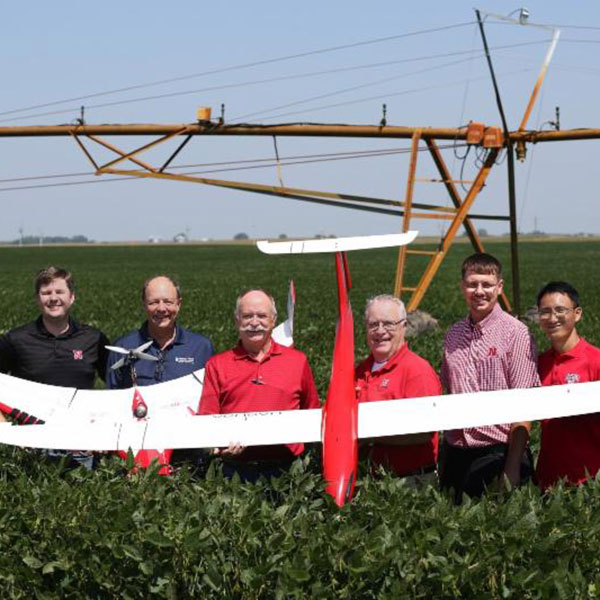 The Unmanned Aircraft Research team includes Biological Systems Engineering faculty (from left) – Joe Luck, associate professor; Christopher Neale, Daugherty Water for Food Global Institute director of research; Wayne Woldt, associate professor; George Meyer, professor; Derek Heeren, assistant professor; and Yufeng Ge, assistant professor.
