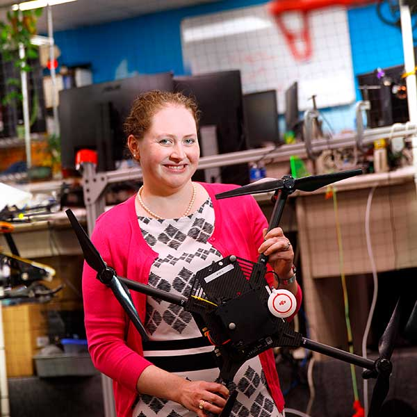 Brittany Duncan, assistant professor of computer science and engineering at Nebraska, has earned a nearly $550,000 Faculty Early Career Development Program award from the National Science Foundation to develop software that allows drones to communicate through movement and maintain comfortable distances from people. (Craig Chandler / University Communication)