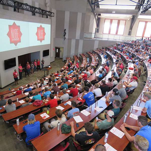 More than 400 first-year students attend the first day of the NUBE Experience at Nebraska Innovation Campus on August 17.
