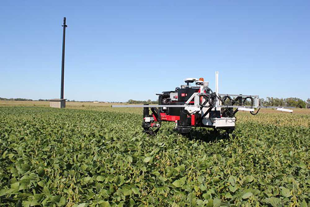 The Flex-Ro uses cameras and sensors to detect the health of plants, and is being taught how to identify weeds. (Christina Stella / Harvest Public Media)