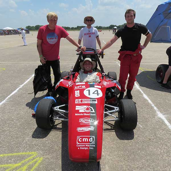 The Husker Motorsports Formula SAE team took 12th place in design and finished among the top 26 in three dynamics events at the Formula SAE Lincoln Student Design Challenge at Lincoln Airpark, June 15-18.