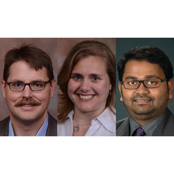 Three faculty from the Department of Biological Systems Engineering -- (from left) John Hay, extension educator; Nicole Iverson assistant professor; and Santosh Pitla, assistant professor -- will be given awards on Friday, March 2 at the Holling Family Award Program for Teaching Excellence.