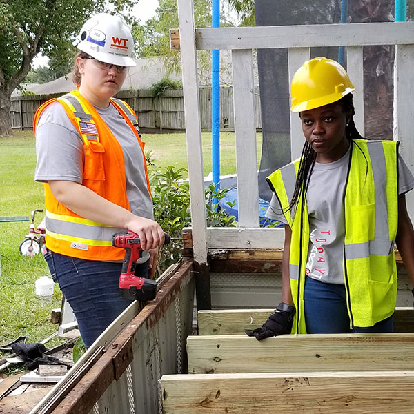 Terri Norton, associate professor of construction engineering, led a group of students from The Durham School to Houston to help with the recovery efforts after Hurricane Harvey.
