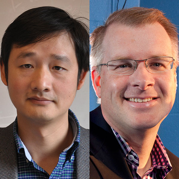 Jinsong Huang (left), Rosowski professor and graduate chair of mechanical and materials engineering, and Shane Farritor, professor of mechanical engineering.