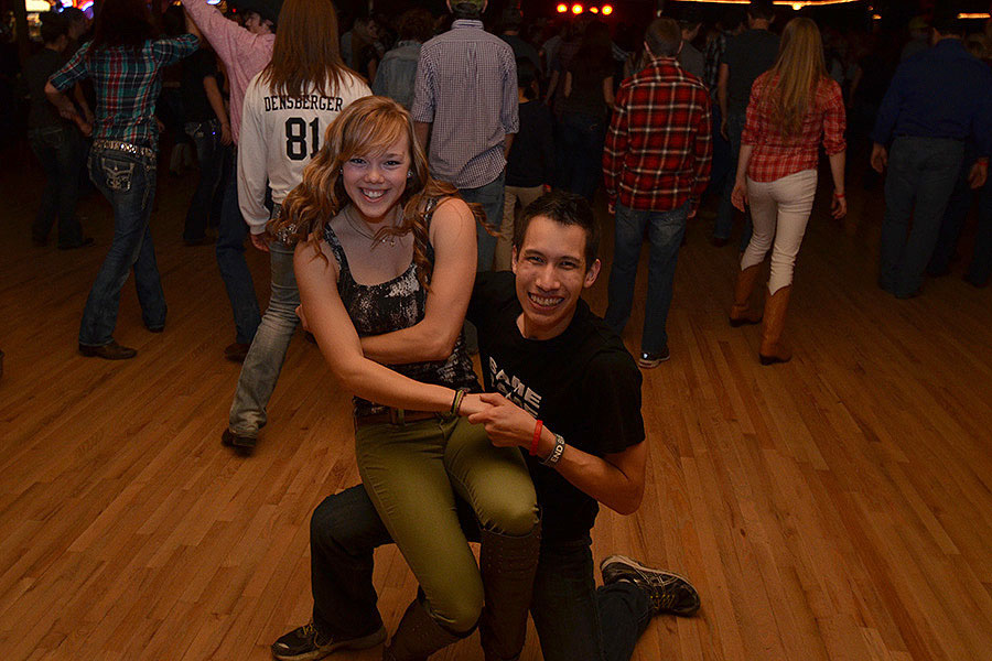 After recovering from a car-bike collision, UNL mechanical engineering student Isra Somanas (right) returns to a favorite hobby: dancing at Lincoln's Pla Mor Ballroom. At left is a dance partner, UNL student Liz Merrett. Photo courtesy Alan Dasenbrock.