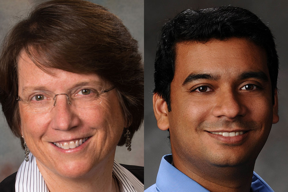 Libby Jones, associate chair and professor of civil and environmental engineering, and Srivatsan Kidambi, associate professor of chemical and biomolecular engineering.