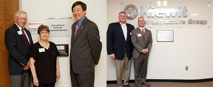 (Left) Jim and Faye Rasmussen with Nebraska Engineering Dean Tim Wei. (Right) Kiewit Infrastructure's Doug Glaser and Chris Loeffler visit the facilities created through their giving.