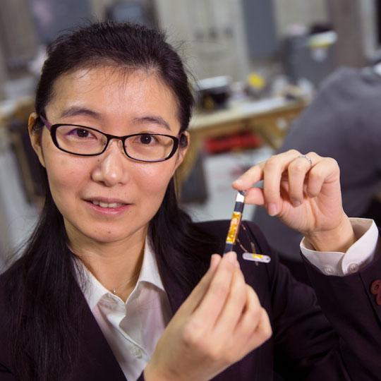 Liyan Qu, assistant professor of electrical and computer engineering, recently earned a five-year, $500,000 Faculty Early Career Development Program Award from the National Science Foundation to develop a next-generation power grid transformer. (Craig Chandler / University Communications)