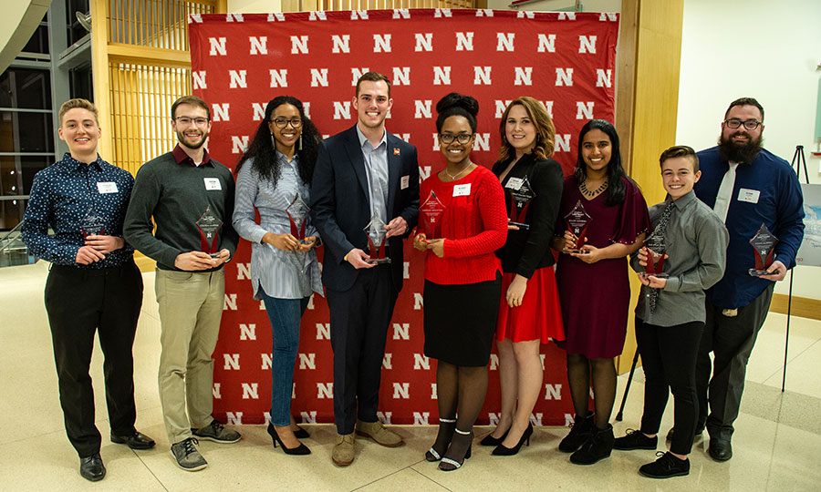 Recipients of the inaugural Student Luminary Awards include (from left) Charlie Adams, Colton Harper, Mishala Lewis, Hunter Traynor, Mariah Houston, Ashley Mulcahy Toney, Guari Ramesh, Kai Meacham and Adam Hubrig. Not pictured is Anthony Stephenson. (University Communication)