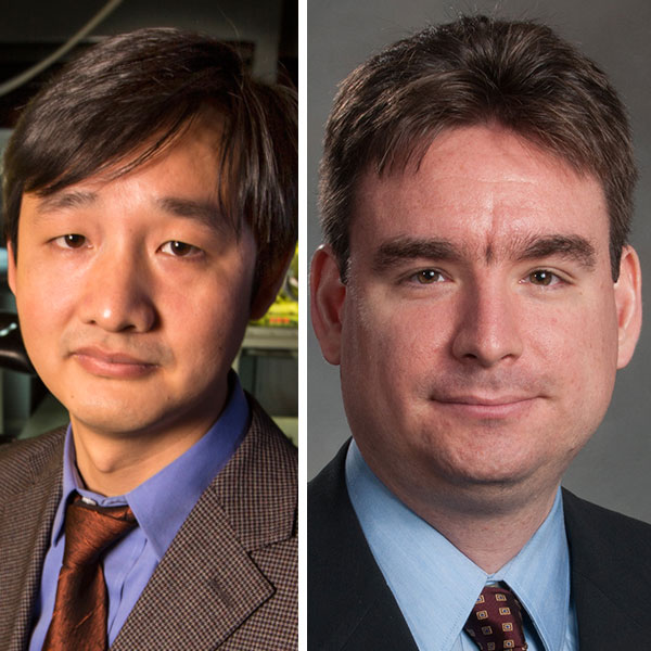 "Jinsong Huang (left), professor and graduate chair of mechanical and materials engineering, and Mehmet Can Vuran, associate professor of computer science and engineering, are among four UNL faculty on the ""Highly Cited Researchers 2016"" list."