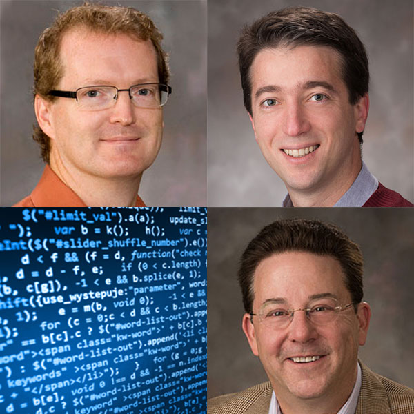 Three computer science and engineering professors (clockwise from top left) -- chair Matthew Dwyer, Sebastian Elbaum and Gregg Rothermel -- have been chosen to the AMiner list of Most Influential Scholars in the field of software engineering, and UNL's program ranked fifth nationally.