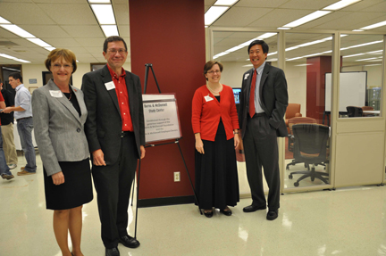 At naming ceremonies for the Burns & McDonnell Study Center at UNL's Engineering Library are: UNL Dean of Libraries Joan Giesecke, Burns & McDonnell's Greg Gould and Karen Stelling (both Nebraska Engineering alumni), and UNL College of Engineering Dean Tim Wei.