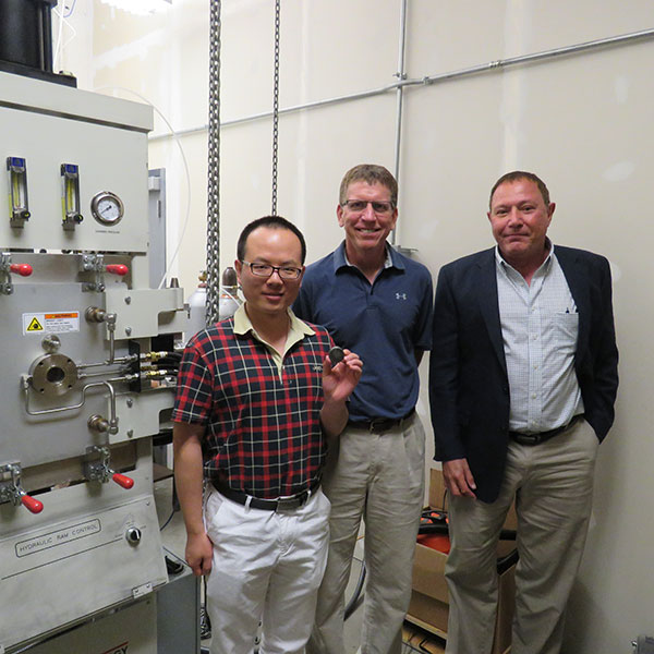 A recent Nuclear Regulatory Commission grant will bolster the research of Bai Cui (left), assistant professor of mechanical and materials engineering, into developing new materials to be used in construction of the next generation of nuclear reactors. Jeffrey Shield (center), chair and professor of mechanical and materials engineering, and Michael Nastasi (right), professor of mechanical and materials engineering, collaborated on the grant.