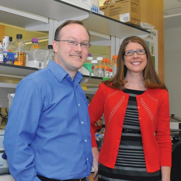 Angela Pannier (left), associate professor of biological systems engineering, and Andrew Dudley, associate professor of genetics, cell biology and anatomy at University of Nebraska Medical Center.