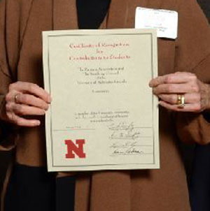 Eleven faculty or staff members from the College of Engineering were honored Feb. 2 at the UNL Parents' Recognition Awards ceremony.