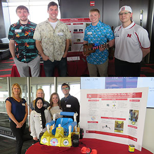 The People's Choice Awards at the April 21 Senior Design Showcase went to UkeBox (top photo) -- Zachary Kentner, Terrill Murray, Brad Naughton, Andrew Tompkins and Drew Wiseman -- and Go Baby Go! (bottom photo) -- Zainab Alsughayer, Emmie Johnson, Hannah Jones, Ravi Raghani and Jordan Verplank.