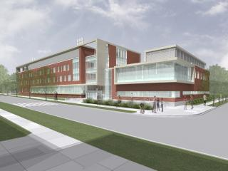 A drawing of the new Physical Sciences Building (left) with the Nanoscience Metrology Facility on the right.