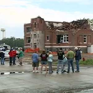 UNL civil engineers are using 3-D technology to study the Pilger Middle School, which was destroyed by a July 2014 tornado, to find ways to make older building safer in severe weather. (Photo from KETV)