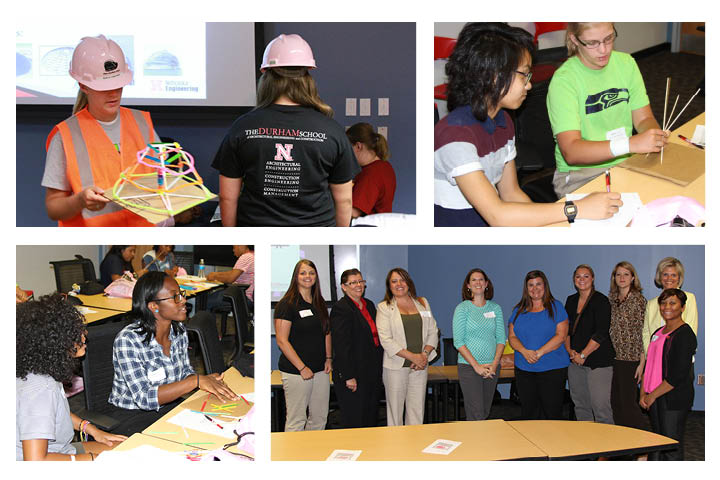 High school participants in UNL Durham School's Pink Hardhat Days learned from a panel of women in construction careers, gained great new attire and built designs for futuristic structures.
