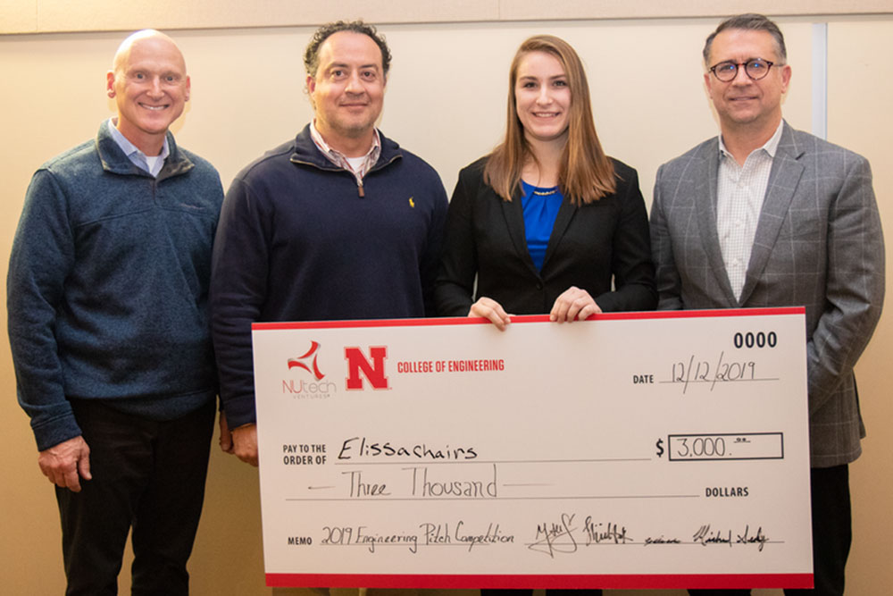 Mary Radke, a senior mechanical engineering major, won first place in the undergraduate category at the Dec. 12 Engineering Pitch Competition. The competition was hosted by the College of Engineering, NUtech Ventures and the National Strategic Research Institute and featured engineering-based business pitches from 16 teams.