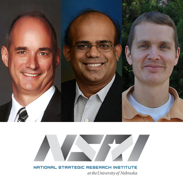 Among the College of Engineering researchers engaged in research sponsored by NSRI includes (from left) Laurence Rilett, professor of civil engineering, Jeyam Subbiah, professor of biological systems engineering, and Benjamin Terry, assistant professor of mechanical and materials engineering.