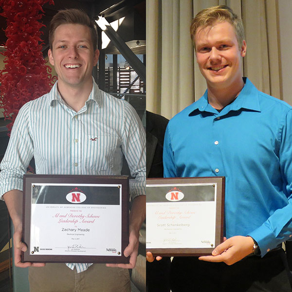 Zachary Meade (left), an electrical and computer engineering major, and Scott Schenkelberg, who graduated May 6 with a degree in mechanical engineering, were chosen winners of the Al and Dorothy Schewe Leadership Awards.