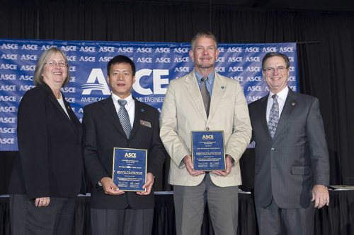 From left, American Society of Civil Engineers President Cathy Caldwell, UNL Durham School's Zhigang Shen and Wayne Jensen, and ASCE Executive Director Patrick Natale (far right) celebrate honors announced at the ASCE 2011 Annual Conference in Memphis, Tenn. on Oct. 21. Photographer- David Hathcox/ASCE
