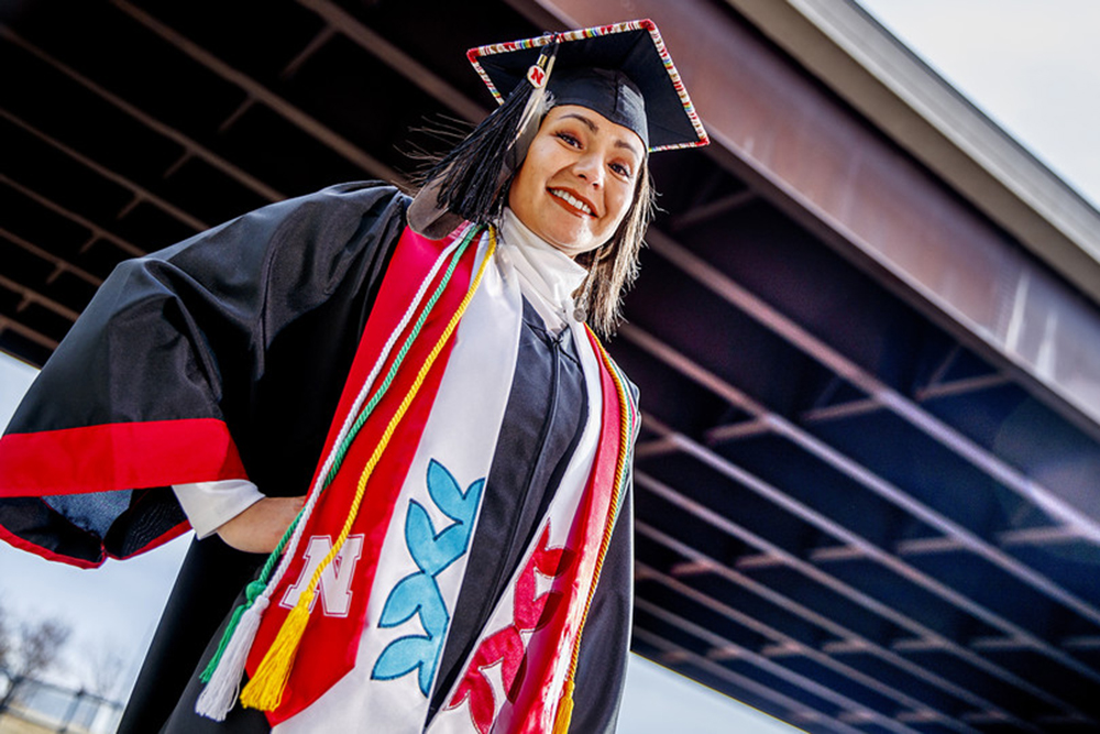 Angelica Solomon, a second-generation collegian, hopes to use her Nebraska Engineering degree to give back to Nebraska and the Winnebago community. (Craig Chandler / University Communication)