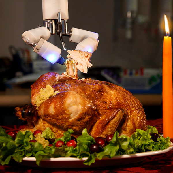 Shane Farritor, professor of mechanical and materials engineering, carved this delicious looking bird (which is actually a chicken) using a robotic surgery device created through a partnership with a colleague at the University of Nebraska Medical Center.
